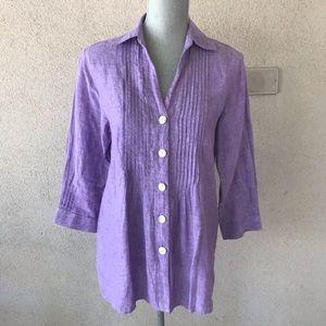 Foxcroft Shaped Fit 100% Linen Shirt Lavender 4